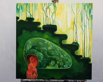 Moss Manatee Mirroring the Mundane - organic oil painting - original art - red and green - art deco - art nouveau - medical art