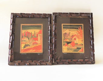 Antique Mexican Straw Art Set of 2, Framed Popote Art Popotillo Collage, Hand Made Straw Painting Scenes of Tlatilco Tlahuac, Primitive Art