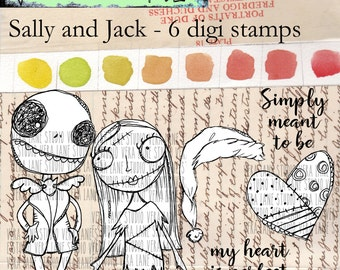 Sally and Jack - 6 digi stamp bundle available for instant download