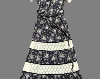 Vintage 70's Prairie Style Maxi Dress UK Size 6