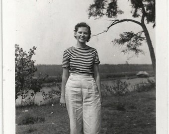Old Photo Teen Girl wearing Striped Shirt and Sailor Pants 1940s Photograph snapshot vintage
