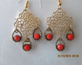 sale Gold Tone Filigree Mesh Earrings with Gold and Orange Bead Earrings