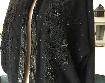 50s Black Cashmere Cardigan with Onyx Beading
