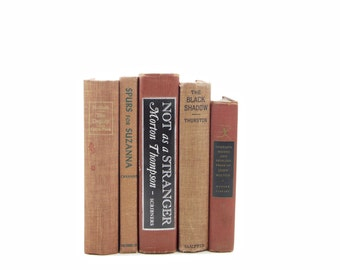 Terra Cotta Antique Brown Decorative Books, Old Red Book Set, Vintage Book Decor, Shabby Chic Books, book collection