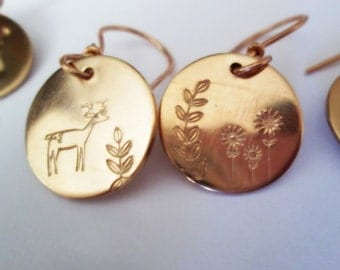 Reindeer Earrings Bronze Mismatched Hand Stamped Jewelry Flower Deer Leaves Rose Gold Dangles Metalsmith Petite Minimalistic Metalwork