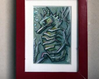 Cute, Sea Horse, Drawing, Illustration, Ocean, green, framed art, mini art
