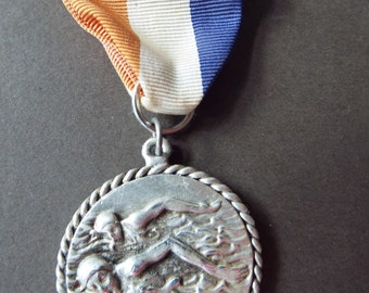 vintage swimming medal sports athletic award relay silver plate