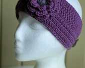 Purple Stylish Ear Warmer with Flower