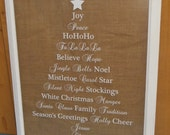 Word Christmas Tree Rustic Picture Frame with Burlap (Ready to Ship)