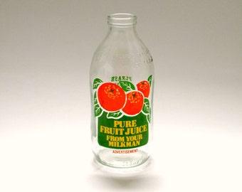 Vintage 1980's Milk Bottle Advertising Fruit Juice
