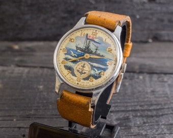 Vintage hand painted Pobeda mens watch from the 50s, vintage russian wrist watch, soviet mechanical watch, vintage mens watch