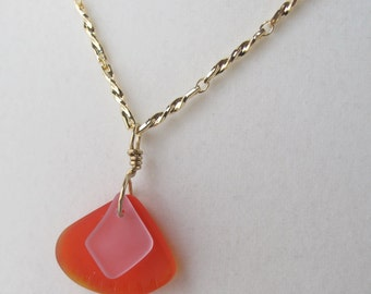 Orange and Pink Recycled Glass Pendant on Delicate Gold Chain