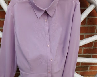 Vintage Rena Rowan Lilac Lavender Stretch Flower Embroidered Blouse - circa 1990 - from DustyMillerAntiques