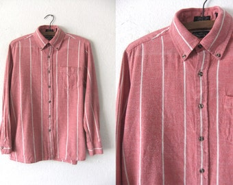 Pinstripe Soft Washed Oxford Shirt - Color Block 90s Salmon Pink Cotton Long Sleeve Button Down - Vintage Mens Medium