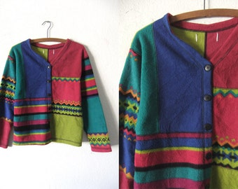 Color Block Fleece Cardigan Sweater - Cozy Cropped Kawaii Style Sea Punk Boxy Fit Chevron Striped Jumper - Womens Large
