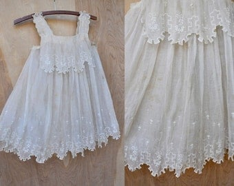 1900s Off White Embroidered Girl's Dress Organza Silk Floral Embroidery Sleeveless Studying Copying Reproduction Collectible Girl's Dress