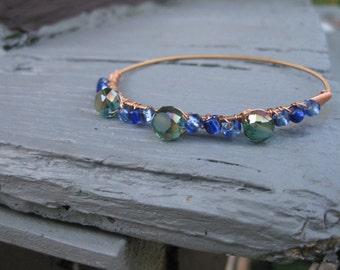 Guitar String Bracelet / Copper Blue and Green Guitar String Bracelet / Guitar Strings Bracelet / Guitar String Bangle