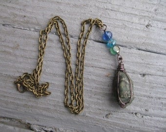 Blue Crystal and Bronze Long Necklace / Long Crystal Necklace / Crystal Necklace / Gift for Her