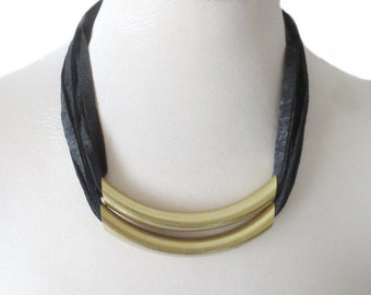 Tribal Necklace, Leather Necklace with Brass, Black Leather Bib, Layered Statement Necklace, Leather Jewellery