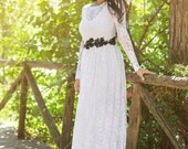 White Lace Wedding Dress Romantic Lace Wedding Gown Long Wedding Gown Long Sleeve Wedding Dress - Handmade By SuzannaM Designs
