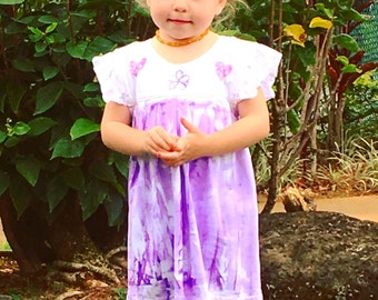 Girl Hawaiian Dress - Hawaiian Dress - Hawaiian Girl Dress -  Dress Hawaii - Hawaii Girl - Party Dress - Hawaii Hand Painted - Toddler dress