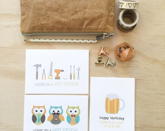 Birthday Male Card Pack - Set of 3 Cards - CP3_007 - beer, owls, tools - Cards for Men - Happy Birthday Cards