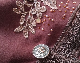 READY TO SHIP  brown chocolate capelet Embroidered short Cloak Hooded victorian