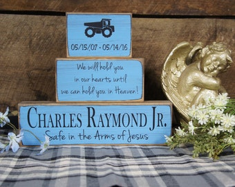 Child Memorial Personalized 3 Block Set Name Date Truck Safe in the Arms of Jesus we will hold you in our hearts until we can hold in Heaven
