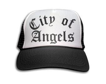 Trucker Cap - City of Angels Snapback Mesh Hat - Hollywood, Retro, Rock, Los Angeles, Band, LA, Punk,