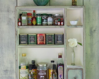 Rustic Cabinet Spice/Condiment Rack-Rustic Distressed Large Spice Rack/Cabinet Made From Reclaimed Materials