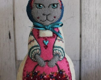 Lady Hare- Large, hand cut and hand embroidered felt art doll, with basket of Spring flowers