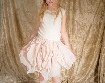 Girl's goddess dress, cream & pink fairy costume. Children's festival pagan clothing, kid's boho dress