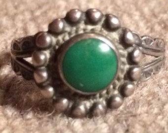 Vintage Handmade Coin Silver or Better Fred Harvey Ring