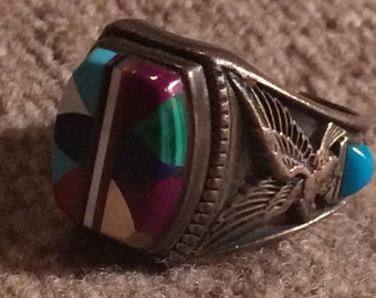Vintage Native American Handmade Sterling & Inlay Ring - Size 8 3/4