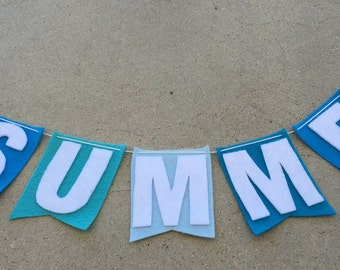 Felt Flag Banner  #SUMMER in Shades of Blue and Letters in White
