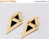 SALE Valentines day Gold\silver stud geometric-ethnic earrings with a triangle dangle part. cute and classy.