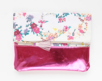 SALE / 20% off KATIE 5 / Cotton fabric & Natural leather folded clutch bag with leather tassel - Ready to Ship