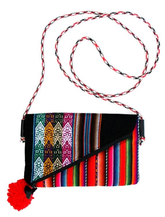 Small, pom pom, adjustable strap, black, stripes, cross body bag, flat bag
