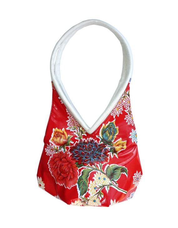 red, blue, mums, oil cloth, tear drop, vegan leather, shoulder bag