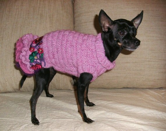 Pink knitted dress for dogs-Chihuahua Dress-Small Dog Costume-Small Dog Clothes