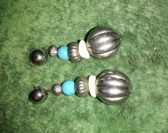 Turquoise  Metal Beaded Long Dangle Earrings