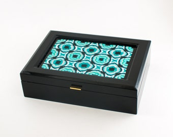 Unique Jewelry Box for Women, Keepsake Box, Black Lacquer, Kaleidoscope Style Fused Glass Top, Brass Hardware, Lined Interior, Gifts for Her
