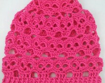 Crocheted Skulls Slouchy Beanie - MADE TO ORDER - You Choose Color