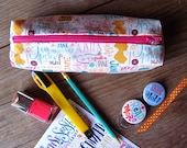 Jane Austen pencil case, colorful pouch with our handlettering design for Jane Austen addicted