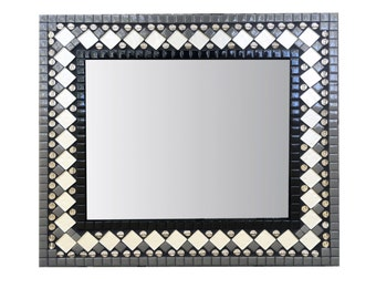 Mosaic Mirror, Black and White, Contemporary Wall Mirror, Modern Geometric Home Decor