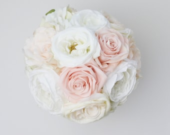 wedding bouquet silk wedding bouquet bridal bouquet rose bouquet silk flowers - Blush Garden Rose Bouquet