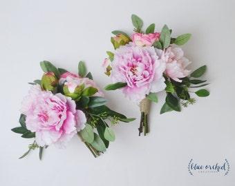 Peony Bouquet, Peony Bridesmaid Bouquet, Bridesmaid Bouquet, Silk Bouquet, Blush Pink Bouquet, Pink Peony Bouquet, Wedding Flower Set