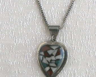 Silver - Ethnic - Israeli -Mosaico - Necklace