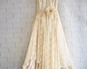 Bailee's dress Ivory & cream lace satin boho wedding dress by mermaidmisskristin