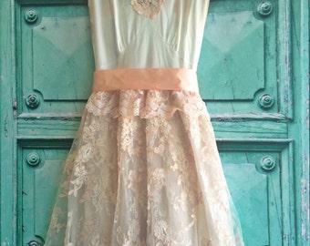 Sale blush & white alencon lace tulle boho  wedding dress by mermaid miss Kristin